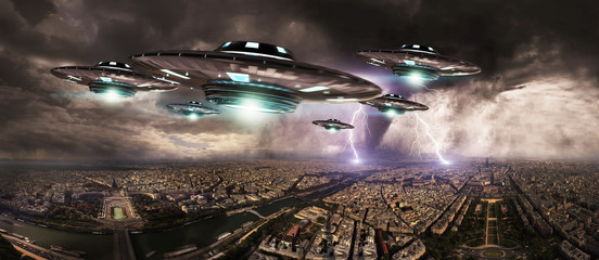 UFO invasionover planet earth city 3D rendering