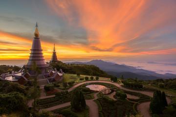 Landscape of Twin pogoda in Doi inthanon mountain
