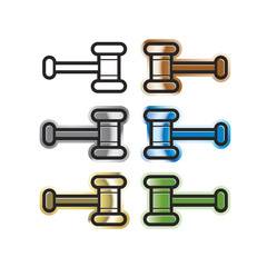 gavel or auction hammer variations vector drawing