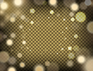 Abstract Gold blurred background, golden light bokeh on a transparent backdrop. Vector illustration, eps10