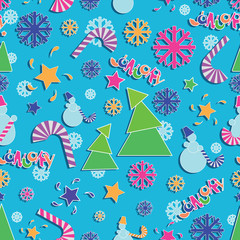 Bright, festive JANUARY! Seamless pattern. Drawing for children in a flat style. Design for the calendar, planning, sketchbook, textiles or packaging materials.