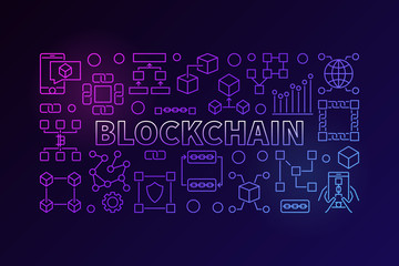 Technology banner made with block chain line icons