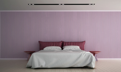 The interior design of bedroom and pink color pattern wall texture background