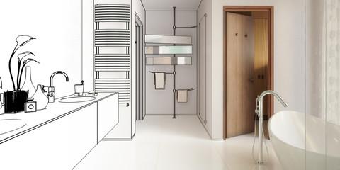 Moderner Badezimmerentwurf (panoramisch)