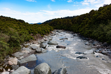 Nowa Zelandia Fox Glacier river landscape with rainforest
