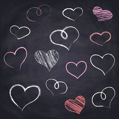 Chalk drawn heart. Geometric figures on chalkboard background.