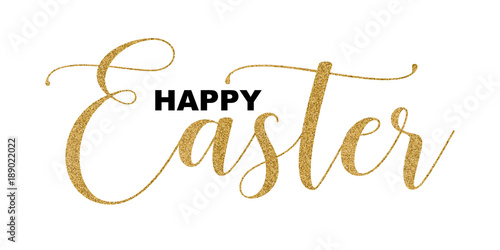 Happy Easter handwritten lettering isolated on white background