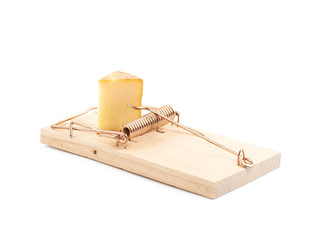 Wooden mousetrap isolated