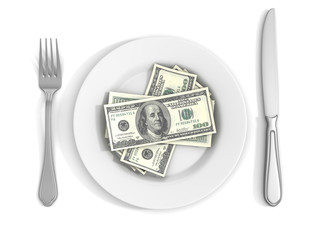 Dollar Bank Notes on White Plate