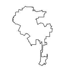 Los Angeles map of black contour curves on white background of vector illustration