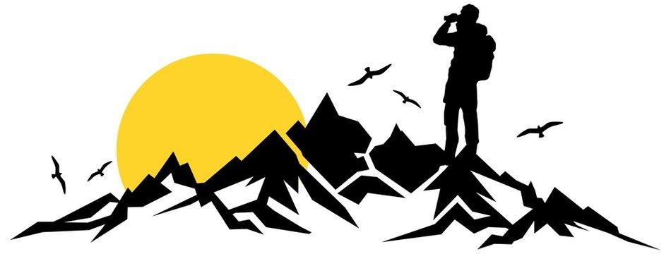 Silhouette Berge Wanderer