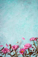 Spring Summer Creative nature background. Pink flowers border