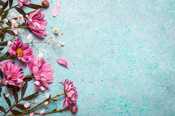 Spring Summer Creative nature background. Pink flowers border on
