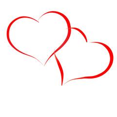 Zwei Herzen - Rot isoliert auf weiß