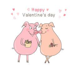 Two cute pigs fallen in love