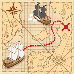 Pirate map with the route to the treasures. Isometric. Vector illustration.