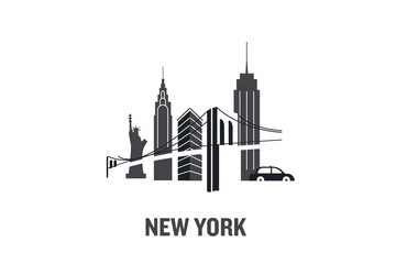 Illustration made with icons of most important buildings in New York. Flat vector design.