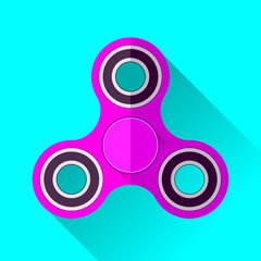 Fidget spinner icon in flat style, Hand toy on blue background. Vector design element for you project