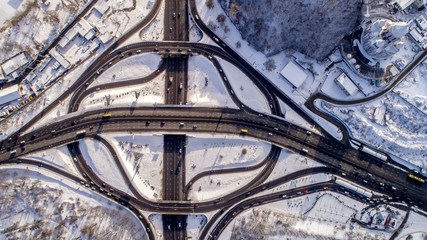 Aerial view of a turbine road interchange in Kiev.