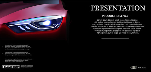 Front view Template mock up promotion with Red car on dark background, with logo and description in 3d vector illustration