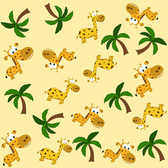 a giraffe and palm tree in pattern