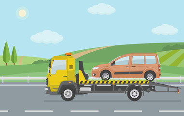 Rural landscape with road and moving  tow truck . Flat style vector illustration.