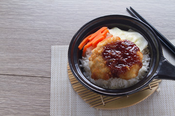 Pork Tonkatsu top on rice