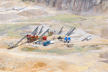 Heavy machineryconveyors in limestone quarry