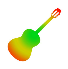 Varicoloured acoustic guitar.