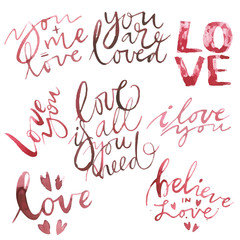 Valentines Day text. Love you. Set vector Romantic quote for design greeting cards, tattoo, holiday invitations. Watercolor Pink set of elements for Valentine's day. Scrapbook design elements.