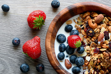 Bowl of healthy breakfast: granola with yogurt and fresh berries