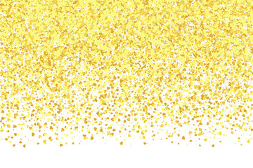 Golden falling hearts randomly on a white background. Festive design for greeting card, banner, wedding invitations, Valentine's day. Vector eps 10.