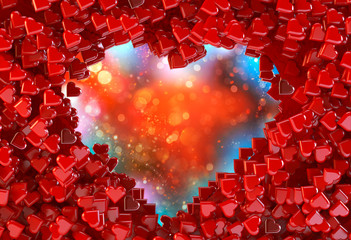Hearts background in red. 3D