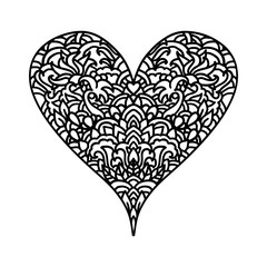 Handdrawn zentangle heart. Mandala style design for St. Valentine day cards. Coloring book pattern. Vector black and white doodle illustra