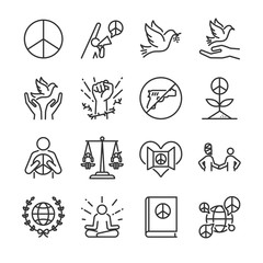 Human rights line icon set. Included the icons as moral, peace, activism, dove, freedom, open mind, global and more.
