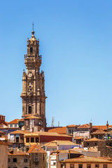 View on Clerigos Tower in Porto, Portugal