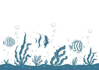 Underwater hand drawn landscape. Vector illustration.