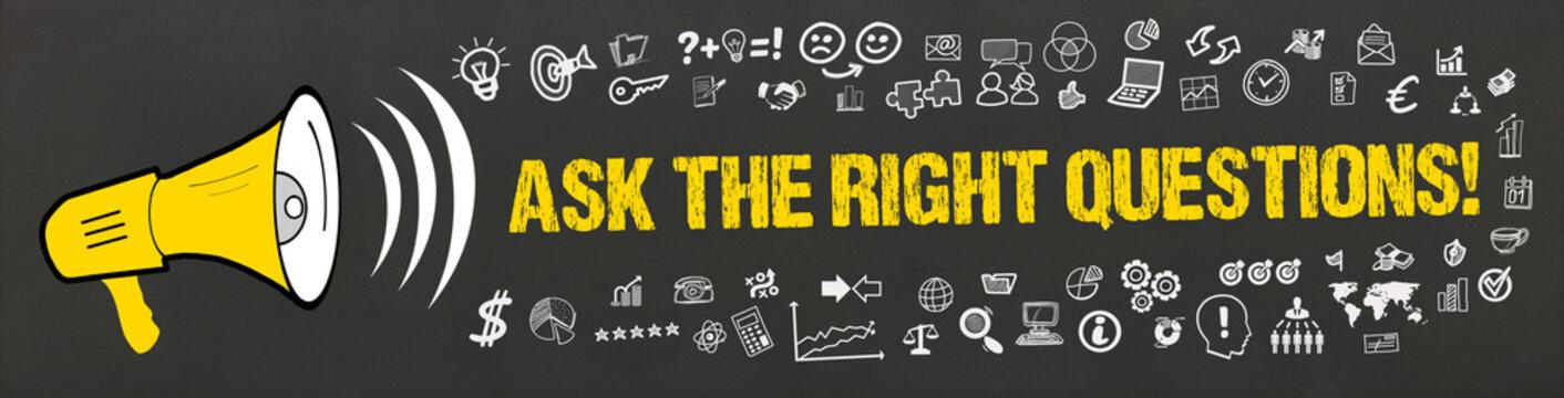 Ask the right Questions! / Megafon mit Symbole