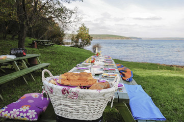 A fancy picnic table full of food by lake in spring