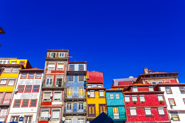 Colorful Houses at Ribeira District at Porto, Portugal
