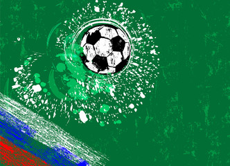 soccer / football, design template, grungy style, free copy space, with soccer ball