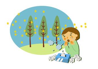 花粉症と杉林のイメージイラスト。