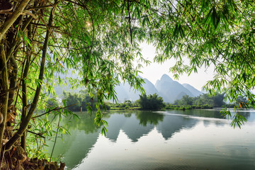 Scenic view of the Yulong River at Yangshuo, Guilin, China