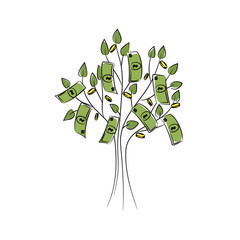 vector green color banknote coin tree
