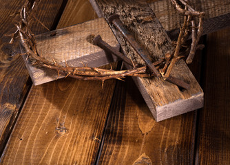 Crown of Thorns with a Wooden Cross and Nails
