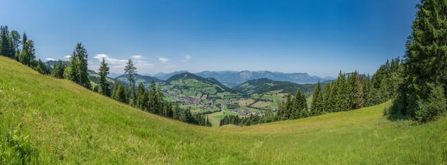 Panorama über die Wildschönau mit einer saftigen Sommerwiese