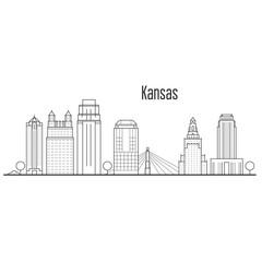 Kansas city skyline - downtown cityscape, city landmarks in liner style