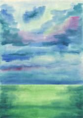 Watercolor background. Misty, foggy, cloudy calm day on the sea.