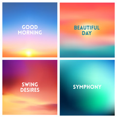 Abstract vector sunset blurred background set. Square blurred background - sky clouds colors With love quotes