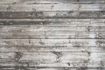 Old grungy white wood planks background texture.